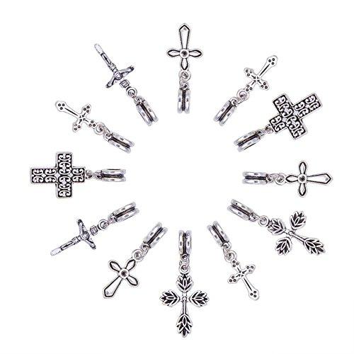 NBEADS Pendenti a Croce, 50 Pezzi Pendenti per Gioielli in Lega Accessori per Perline Pendenti in Stile Tibetano per la Fabbricazione Fai-da-Te