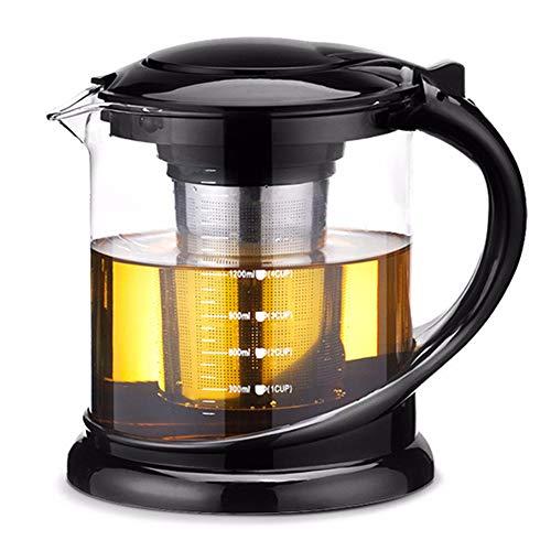 HshDUti 1000 / 1800ml Glas Hitzebeständige Teekanne Teebereiter Filtersieb Infuser Cup Black 1800ml