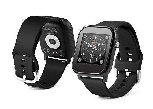 Technaxx Smartwatch mit Temperaturmessung TX-SW6HR - Temperatur, Herzfrequenz, Schritte, zurückgelegte Entfernungen, Kalorienverbrauch, Schlafdauer, Uhrzeit, Datum, 1,4-Zoll-Farbbildschirm, SMS etc.