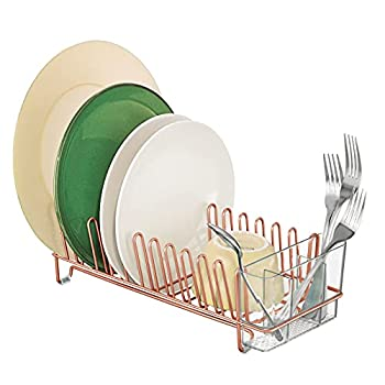 mDesign Compact Modern Kitchen Countertop Sink Dish Drying Rack Removable Cutlery Tray - Drain and Dry Wine Glasses Bowls and Dishes - Metal Wire Drainer Plastic Silverware Caddy - Copper/Clear
