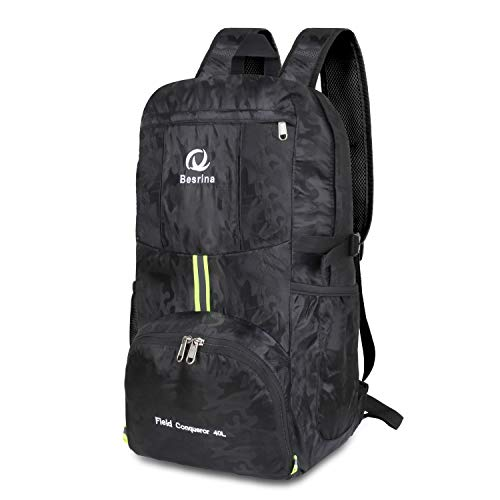 40L Ultraleicht Faltbare Rucksack, Wasserdichter Wanderrucksäcke Multipurpose Reiserucksack Daypack für Wandern Biken Trekking Klettern Bergsteiger Camping Schule Freizeit (Camouflage Black)