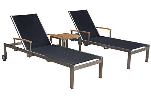 OUTFLEXX 2er-Set Sonnenliegen, schwarz, Edelstahl/Teak, mit Beistelltisch 45 x 45cm