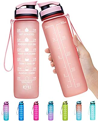 Elvira 32oz Large Water Bottle with Motivational Time Marker & Removable Strainer,Fast Flow BPA Free Non-Toxic for Fitness, Gym and Outdoor Sports-Light Pink