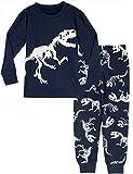 MOMBEBE COSLAND Pijama Dinosaurio Niños Manga Larga (8 años, Azul Marino)
