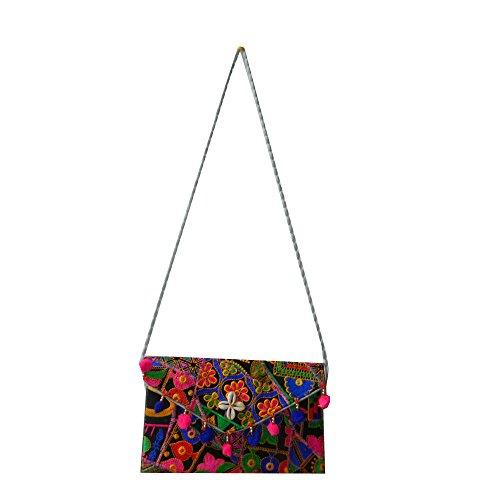 Indische Handtasche Blume Muschel Baumwolle Stickereien Tasche Accessoire