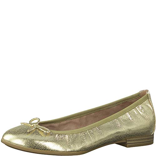 Tamaris Damen Ballerinas 22116-24, Frauen KlassischeBallerinas, Freizeit leger Flats sommerschuh elegant Schleife Damen Lady,Gold,39 EU / 5.5 UK