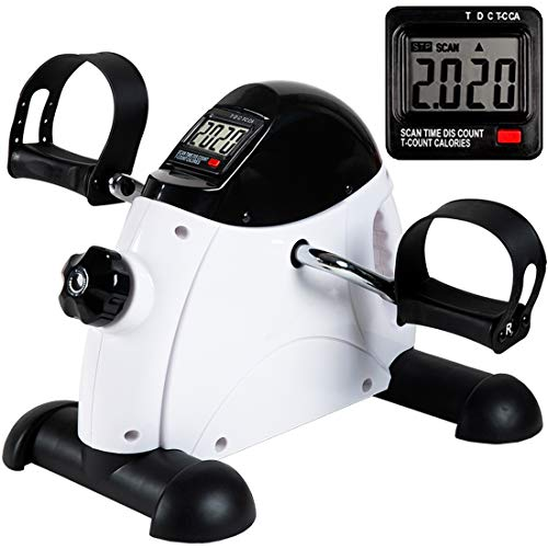 Under Desk Bike Pedal Exerciser - TABEKE Mini Exercise Bike for Arm/Leg Exercise, Pedal Exerciser for Seniors with LCD Display (White)
