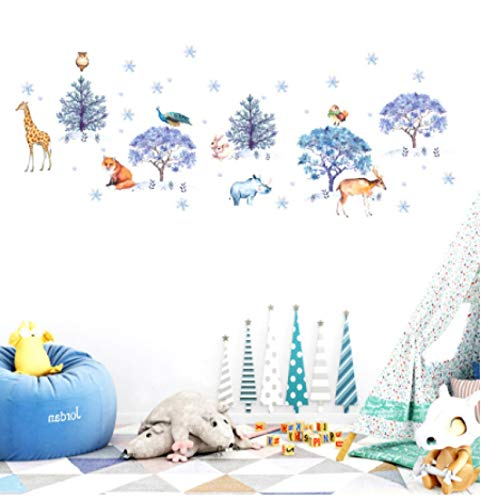 N\A vinilos de Pared Decorativos Pegatinas de Pared de Animales nevados Dormitorio Sala de Estar Fondo decoración del hogar Mural decoración navideña Papel Tapiz Art calcomanías Pegatinas