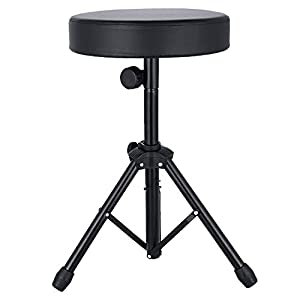 Sailnovo Universal Drum Throne,Padded Drum Seat Rotatable Height Adjustable drumming Stools with Anti-Slip Feet for Adults and Kids Black