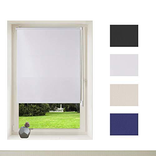 OBdeco - Estor opaco térmico, sin agujeros, revestimiento de plata, protección visual, protección solar, fijación para ventana, tela, Blanco, 60x160cm(Stoffbreite:ca.56.5cm)