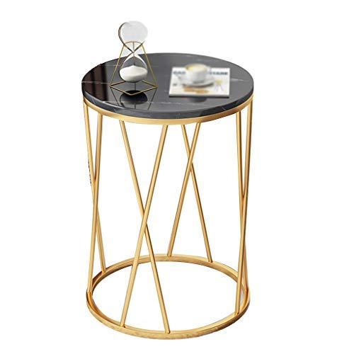 Mesa auxiliar de interior, de hierro forjado de mármol, mesa redonda de café, restaurante, sofá, mesa de salón, por The Sofá, madera, B, 40*40*57CM