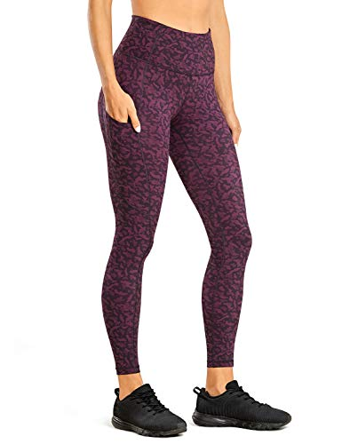 CRZ YOGA Donna Vita Alta Yoga Fitness Spandex Palestra Pantaloni Sportivi Leggins con Tasche-63cm Stampa Leopardo 6 42