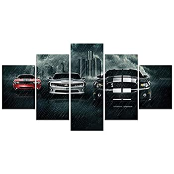 American Muscle Sports Car Poster Ford Mustang Chevrolet Camaro Dodge Challenger HD Print on Canvas Painting Wall Art for Living Room Decor Boy Gift  Unframed Ford Mustang 4