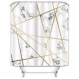 X-Labor Marmor Duschvorhang 240x200cm Wasserabweisend Stoff Anti-Schimmel inkl. 12 Duschvorhangringe Waschbar Badewannevorhang 240x200cm Muster-H