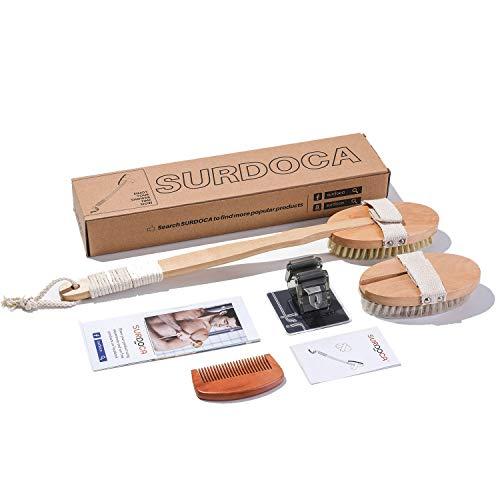 SURDOCA Cepillo corporal de cepillado en seco - Depurador de espalda de ducha de mango largo de madera natural con 2 cabezales de cepillo de baño, exfoliante para hombres y mujeres