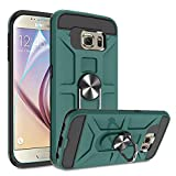 Galaxy S6 Case with HD Screen Protector, Atump 360° Rotation Ring Holder Kickstand [Work with Magnetic Car Mount] PC+ TPU Phone Case for Samsung Galaxy S6, Midnight Green