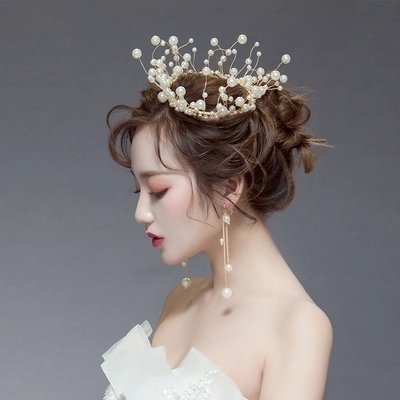 Kercisbeauty Vintage barokke stijl Fancy zoetwater parel tak zilver volledige ronde sieraden Bruids Tiara bruiloft kroon met parel druppel oorbellen voor bruid of bruidsmeisje, Pageant kroon, partij accessoire, bal Goud