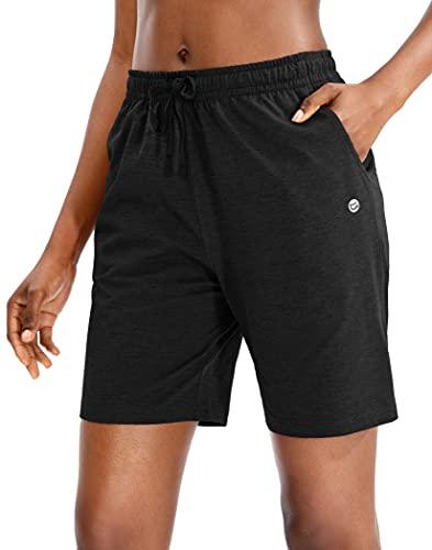 G Gradual Women's Bermuda Shorts Jersey Shorts with Deep Pockets 7' Long Shorts for Women Lounge Walking Athletic (Black, X-Large)