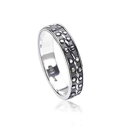 MATERIA Damen Ring filigran 925 Sterling Silber antik dünn gepunktet #SR-114, Ringgrößen:54 (17.2 mm Ø)