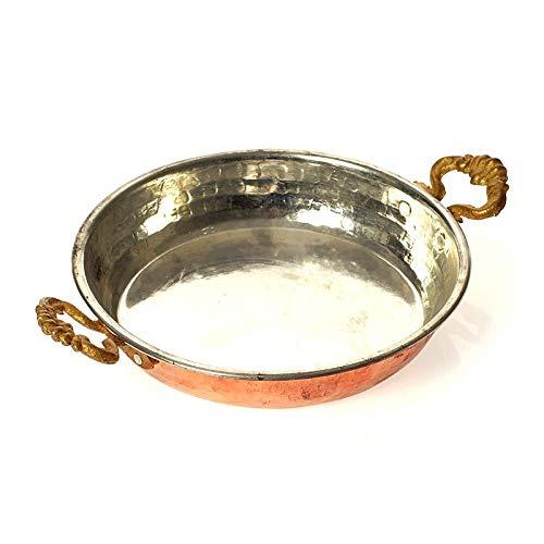 ODSHY Turco Tradicional de Cobre Tortilla de Huevo Tortilla Sahan Fryer Pot con Asas de latón Sartén Antideslizante Herramienta de Cocina Herramienta de Cocina Hecho de Pavo (Color : 15cm)