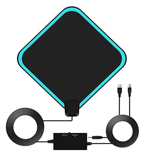TV Antenne mit Verstärker Indoor DVB-T Antenne Fernseher HD Digital TV Antenne 4K 1080P HDTV Antennen mit integriertem Verstärker für Digitale Alle Fernseher