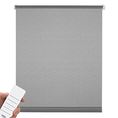 Kirsch Innovation Elektrisches Rollo für Fenster, Klemmfix ohne Bohren, Sichtschutz & Sonnenschutz mit Akku, Tageslichtrollo lichtdurchlässig – 45x150 cm grau– Klemmträger