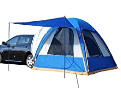 8.5 (L) x 8.5 (W) ft. tent sleeps 4 people along with the extra sleeping or storage space provided by you vehicle's cargo area Unzip the removable vehicle sleeve to convert the vehicle tent into a stand alone ground tent Shock-corded fiber glass pole...