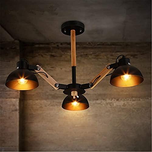3 Luces Luz de Techo Luz Industrial Habitación Vintage Arte Decoración Ajustable Colgante Iluminación Negro Acabado Colgante Luz Araña, Metal de Hierro Madera Maciza Colgante Iluminación para Comedor