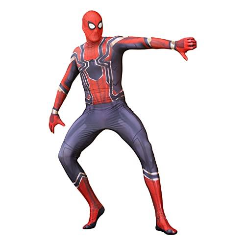 HMSWJD Mono de Iron Spiderman para niños Traje de Cosplay Disfraces de superhéroe Medias de Halloween A Licra Disfraces de Disfraces Zentai,Rojo,Men/2XL(180~190CM)
