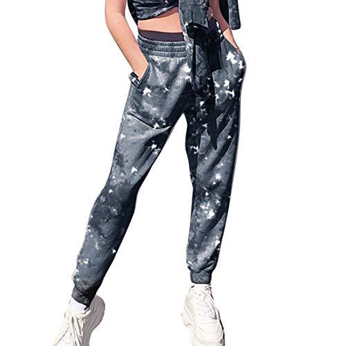 MoneRffi Damen Sporthosen Lang Jogginghose Loose Fit Elastischer Bund Freizeithosen Hohe Trainingsanzug Hosen Sweathose mit Taschen(dye tie-Grau,S)