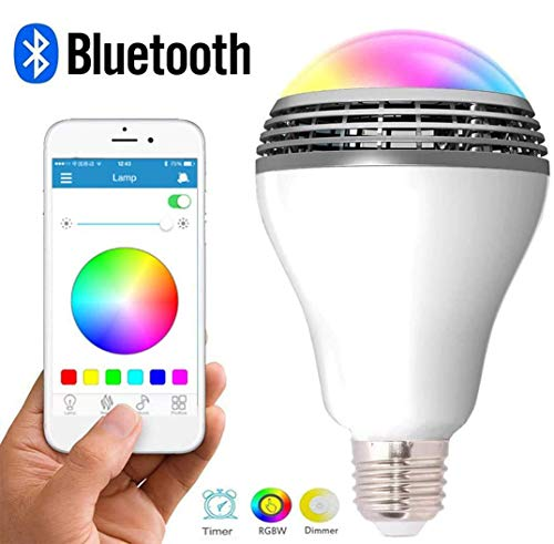 Smart Light Bulb with Bluetooth Speaker and APP Control RGB Multi Color Adjustable and Dimmable Wireless Music Bulb