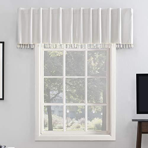 "Sun Zero Greyson Faux Dupioni Silk Beaded Tassels Extreme 100% Blackout Back Tab Curtain Valance, 50"" x 17"", Pearl White"