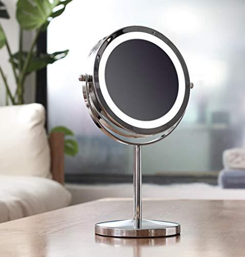 Espejo de luz de Anillo de Escritorio Control táctil Inteligente LED Tocador de Maquillaje Iluminado Espejo de tocador LED de pie Espejo de Maquillaje de Uso USB-H