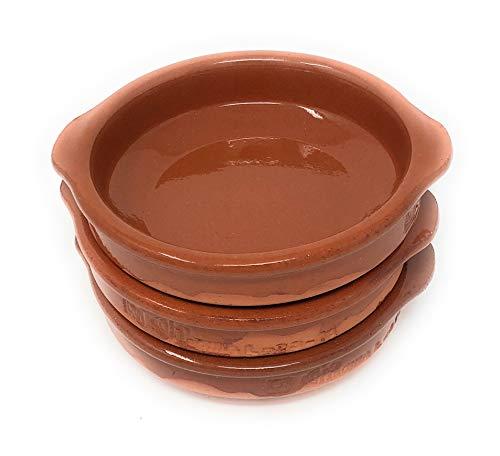 Alfareria Padilla 3er-Set Cazuela Tonschale rustikale Servierschale klein, traditionel, flach, rund, braun 14 cm | 3x14cm