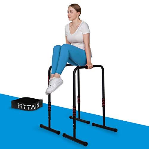 FITTAIN® Praktisches Dipbarren Set – Dipbarren mit Fitnessband – Höhenverstellbare Dip Station – Poster mit Übungen (56.6, 80.3)