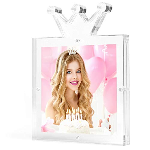 TOVLIS Princess Picture Frame Quinceanera Crown Design Decor - Acrylic Floating Photo, 6x6, Beauty Pageant Photo Frame, Cheerleading Picture Frame, Double Sided Clear Standing Desk Side Table Decor