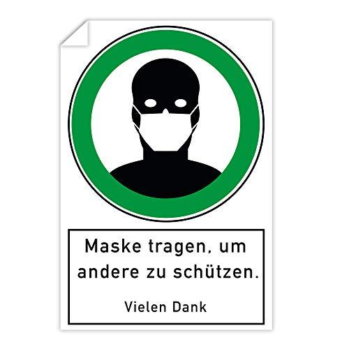 3 Stück Aufkleber 200x300 mm -Maske tragen um andere zu schützen mit Piktorgramm/Selbstklebender Digitaldruck Aufkleber/Innen und Außen/Wetterfest/UV-Beständig