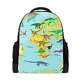 Mnsruu Mochila escolar para niños, dibujos animados dinosaurios mapamundi casual...