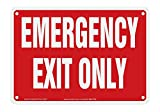 Accuform'Emergency EXIT ONLY' Plastic Safety Sign, 7' x 10', White on Red, MEXT586VP