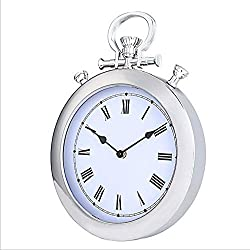 SHENGJIAN Silver Metal Side Pocket Watch Wall Clock New Silent Plastic Clock Wall Charts Simple Modern Living Room Bedroom Quartz Clock