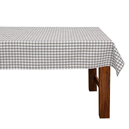 FILU Tischdecke 130 x 220 cm Grau/Weiß kariert (Farbe und Größe wählbar) - hochwertig gefertigtes Tischtuch aus 100% Baumwolle