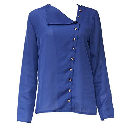 Camisa Mujer Gasa Manga Larga Camisa Holgada Y Transpirable con Botones Verano Elegante Y Cómoda Camisa De Oficina para Mujer Minimalista Color Puro Tops Camisa Casual Diaria G-Blue 3XL