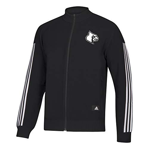adidas Mens NCAA Full Zip Sweater Louisville Cardinals, Black, Medium