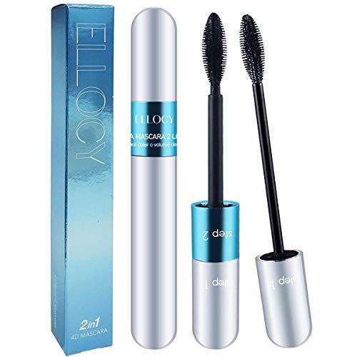 Ellocy 4D Silk Fiber Lash Mascara, 2 in 1 Mascara for Natural and Voluminous Look - Premium Thickening and Waterproof Mascara for Long-Lasting, Charming Eye Makeup