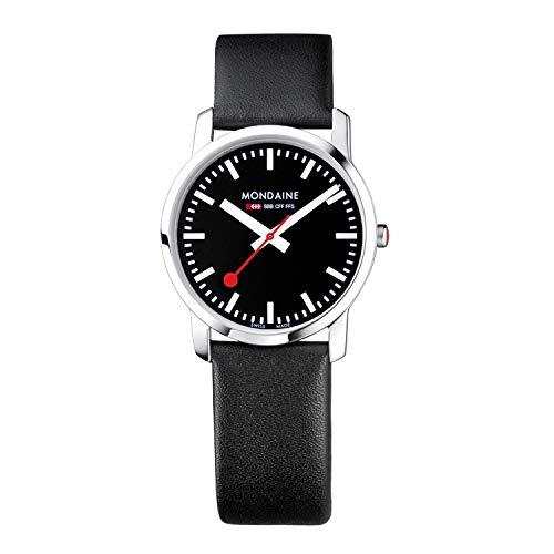 Mondaine Simply Elegant - Reloj de Cuero Negro para Hombre y Mujer, A400.30351.14SBB, 36 MM