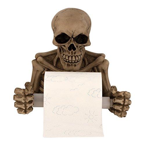 Geschenkestadl Totenkopf als Toilettenpapierhalter ca. 19 cm x 20 cm Skelett Halter Skull Schädel Gothic Bad Zubehör