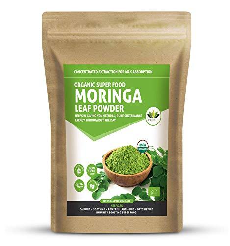 Virgin Grade Organic Moringa Oleifera Leaf Powder. USDA Certified Organic. Natural Energy Boost, Raw Superfood, Multi-Vitamin. No GMO, Gluten Free. Great in Green Drinks, Smoothies 1.1 Lb