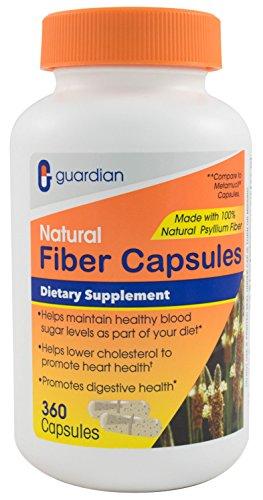 Guardian Fiber Capsules, Natural Psyllium Husk Supplement, 360 Count (520mg per Capsule), Fiber Pills