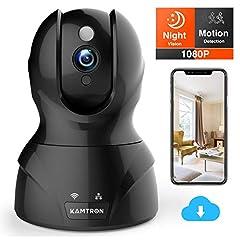 KAMTRON Wi-Fi IP Camera FHD-bewakingscamera met 350°/100° Panable,Home- en babymonitor met bewegingsdetectie, tweerichtingsaudio, nachtzicht, ondersteunt alarm op afstand en mobiele app-bediening*