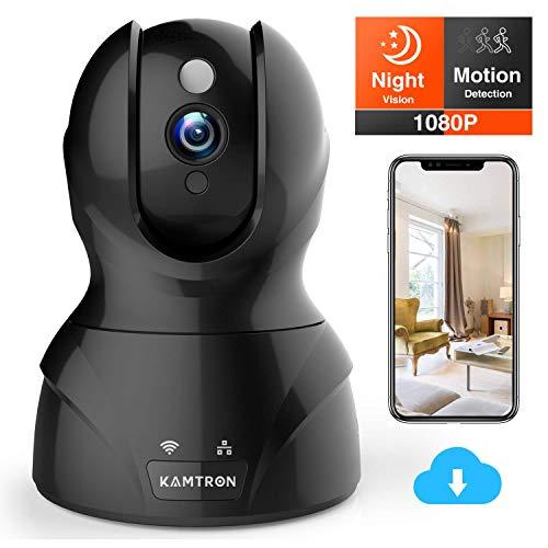 KAMTRON WLAN IP Kamera FHD Überwachungskamera mit 350°/100°Schwenkbar,Home und Baby Monitor mit Bewegungserkennung, Zwei-Wege-Audio, Nachtsicht,unterstützt Fernalarm und Mobile App Kontrolle